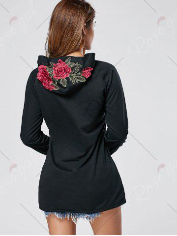 Trendy Floral Embroidered Hoodie - L BLACK Mobile