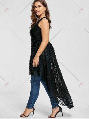 Buy High Low See Through Lace Plus Size Top - XL BLACK Mobile