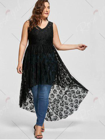 Fancy High Low See Through Lace Plus Size Top - XL BLACK Mobile