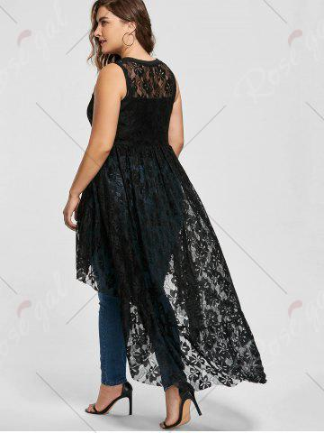 Outfit High Low See Through Lace Plus Size Top - XL BLACK Mobile