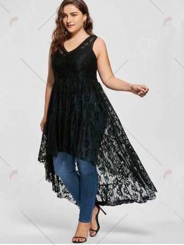 Store High Low See Through Lace Plus Size Top - XL BLACK Mobile