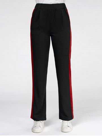 Online Color Trim Elastic High Waist Casual Pants BLACK S