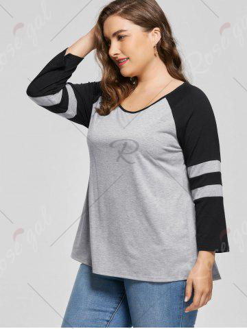 Affordable Plus Size Raglan Sleeve Jersey Top - 2XL BLACK AND GREY Mobile