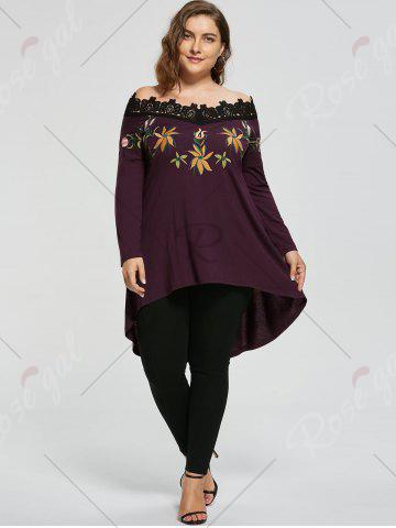 Chic High Low Plus Size Embroidery Off Shoulder Top - 5XL COLORMIX Mobile