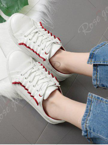 Fashion Ruffles Faux Leather Flat Shoes - 40 RED Mobile