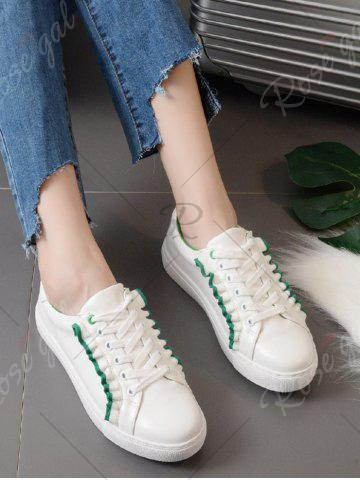 Hot Ruffles Faux Leather Flat Shoes - 39 GREEN Mobile