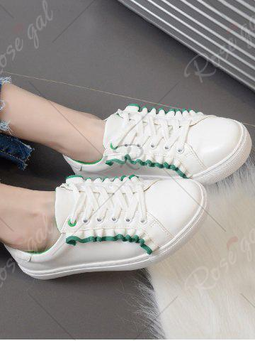 Latest Ruffles Faux Leather Flat Shoes - 39 GREEN Mobile