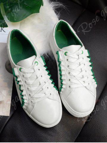 Discount Ruffles Faux Leather Flat Shoes - 38 GREEN Mobile