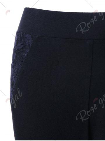 Affordable Plus Size Lace Insert Fitted Pants - 2XL BLACK Mobile