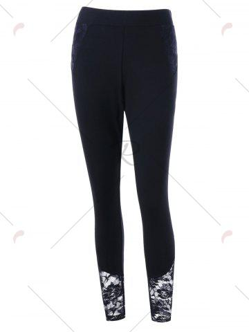 Affordable Plus Size Lace Insert Fitted Pants - 5XL BLACK Mobile