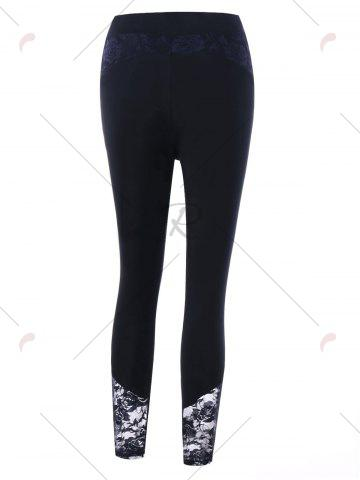 Fashion Plus Size Lace Insert Fitted Pants - 5XL BLACK Mobile