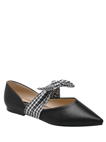 Fancy Tie Up Faux Leather Flat Shoes - 37 BLACK Mobile