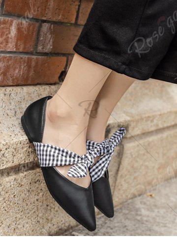Sale Tie Up Faux Leather Flat Shoes - 37 BLACK Mobile