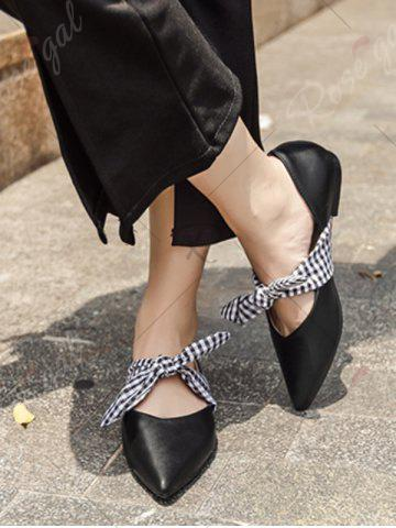Buy Tie Up Faux Leather Flat Shoes - 38 BLACK Mobile