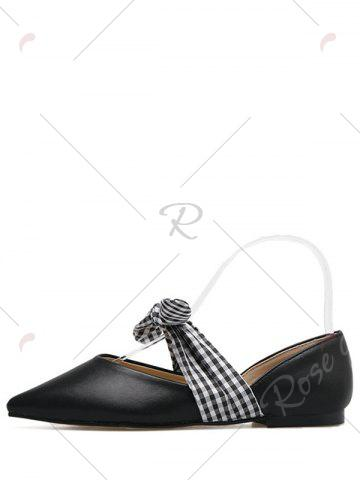 Latest Tie Up Faux Leather Flat Shoes - 38 BLACK Mobile