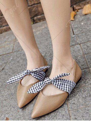 Buy Tie Up Faux Leather Flat Shoes - 39 APRICOT Mobile