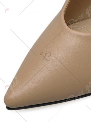 Trendy Tie Up Faux Leather Flat Shoes - 37 APRICOT Mobile