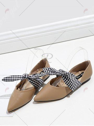 Outfits Tie Up Faux Leather Flat Shoes - 37 APRICOT Mobile