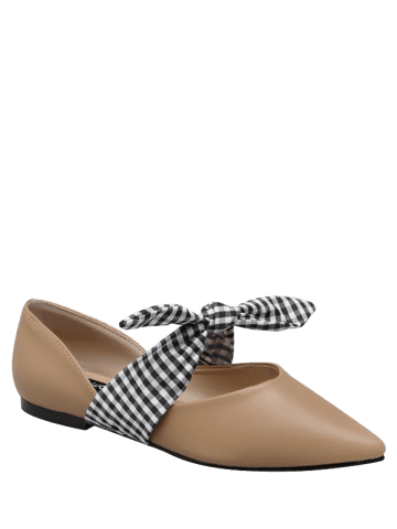 Latest Tie Up Faux Leather Flat Shoes - 38 APRICOT Mobile