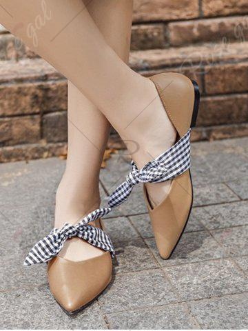 Outfits Tie Up Faux Leather Flat Shoes - 38 APRICOT Mobile