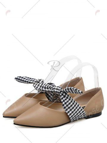 Trendy Tie Up Faux Leather Flat Shoes - 38 APRICOT Mobile