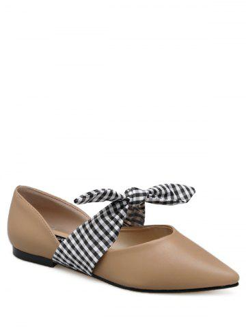 Tie Up Faux Leather Flat Shoes - Apricot - 38