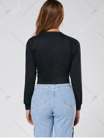 Outfits Floral Embroidered Crew Neck Crop Sweatshirt - S BLACK Mobile
