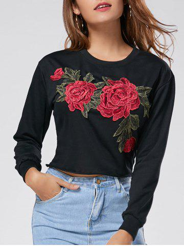 Discount Floral Embroidered Crew Neck Crop Sweatshirt - L BLACK Mobile