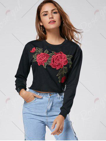 Outfits Floral Embroidered Crew Neck Crop Sweatshirt - L BLACK Mobile