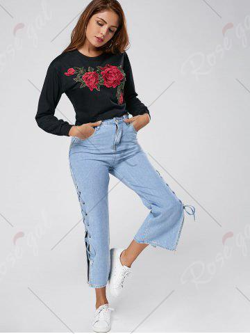 Shops Floral Embroidered Crew Neck Crop Sweatshirt - L BLACK Mobile