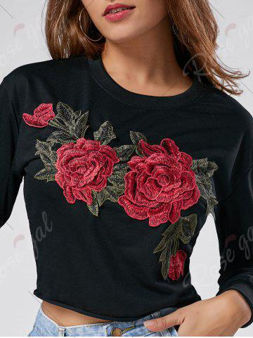 Sale Floral Embroidered Crew Neck Crop Sweatshirt - L BLACK Mobile