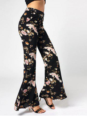 Floral Print High Waist Flared Pants - Black - Xl