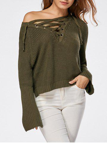 Hot Raglan Sleeve High Low Lace Up Sweater LAWN ONE SIZE