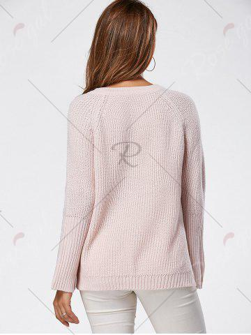 Trendy Raglan Sleeve High Low Lace Up Sweater - ONE SIZE LIGHT PINK Mobile