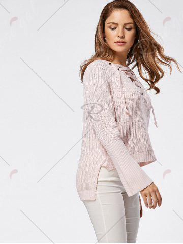 Fancy Raglan Sleeve High Low Lace Up Sweater - ONE SIZE LIGHT PINK Mobile