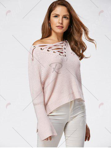 Affordable Raglan Sleeve High Low Lace Up Sweater - ONE SIZE LIGHT PINK Mobile