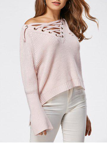 Discount Raglan Sleeve High Low Lace Up Sweater LIGHT PINK ONE SIZE