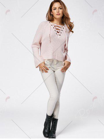 Shops Raglan Sleeve High Low Lace Up Sweater - ONE SIZE LIGHT PINK Mobile