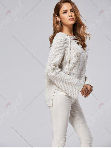 Online Raglan Sleeve High Low Lace Up Sweater - ONE SIZE LIGHT GRAY Mobile
