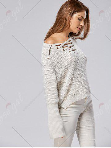 Sale Raglan Sleeve High Low Lace Up Sweater - ONE SIZE LIGHT GRAY Mobile