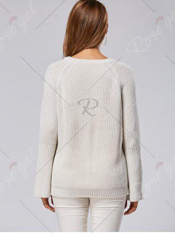 Discount Raglan Sleeve High Low Lace Up Sweater - ONE SIZE LIGHT GRAY Mobile