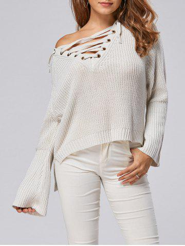 Store Raglan Sleeve High Low Lace Up Sweater - ONE SIZE LIGHT GRAY Mobile