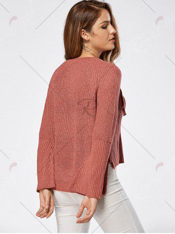 Store Raglan Sleeve High Low Lace Up Sweater - ONE SIZE DARK AUBURN Mobile