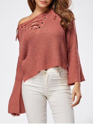 Latest Raglan Sleeve High Low Lace Up Sweater DARK AUBURN ONE SIZE