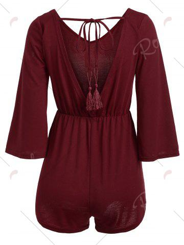 Buy V Neck Tassel Open Back Romper - L WINE RED Mobile