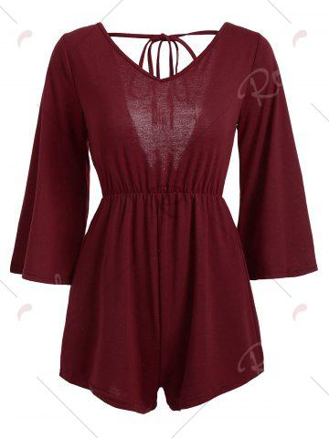 Trendy V Neck Tassel Open Back Romper - L WINE RED Mobile