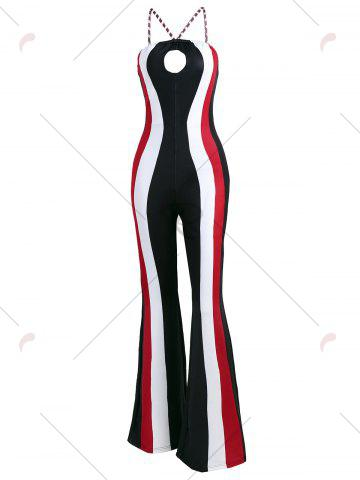 Discount Keyhole Striped Spaghetti Strap Jumpsuit - L RED Mobile