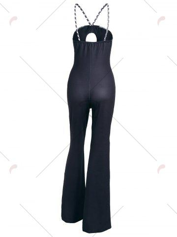 Outfits Keyhole Striped Spaghetti Strap Jumpsuit - M BLUE Mobile