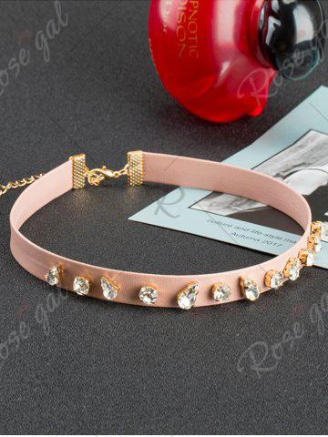 Online Teardrop Glass Decorated Choker - SHALLOW PINK  Mobile