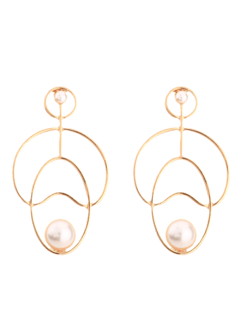 Affordable Faux Pearl Embellished Hollow Out Stud Earrings - GOLDEN  Mobile